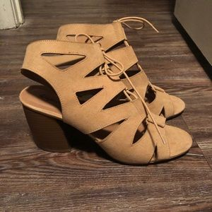 QUPID Lace Up Tan Womens Heeled Sandals